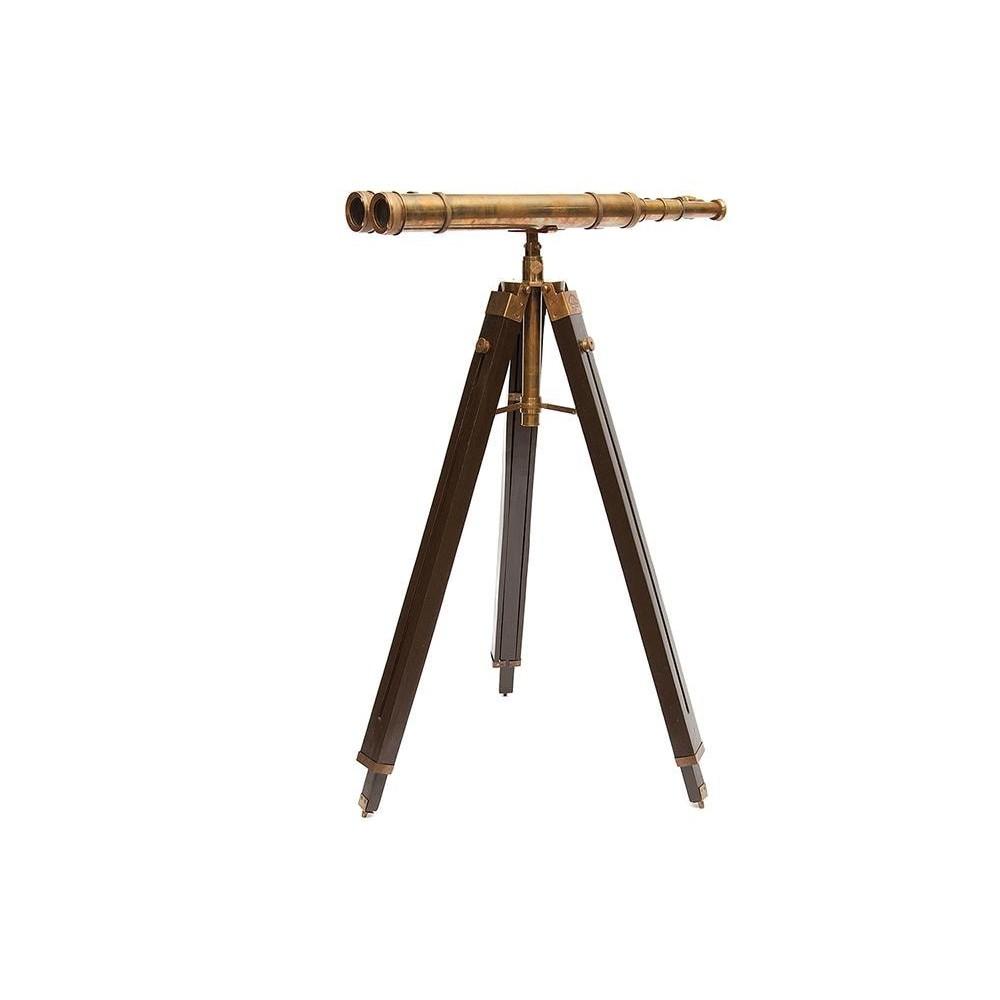 Напольная бинокулярная труба на треноге #2155 сплав алюминий/латунь, дерево