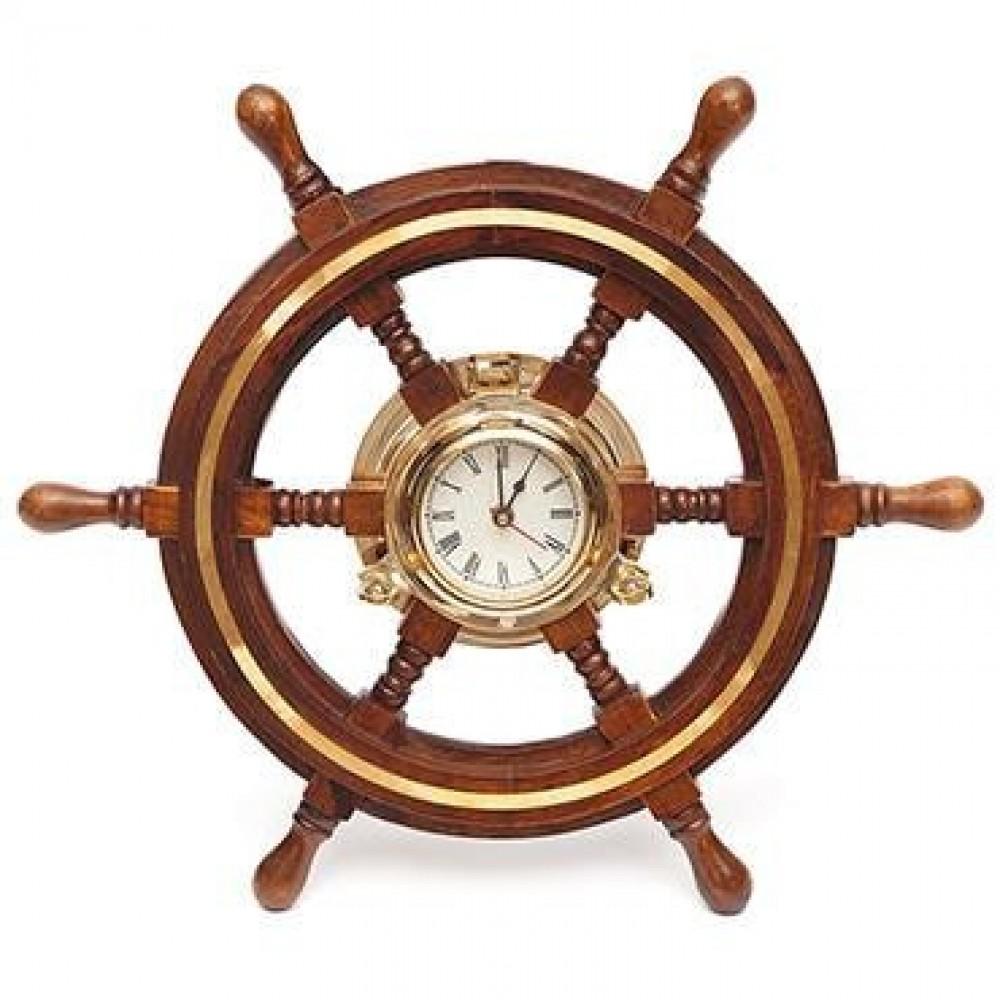 Настенные часы-штурвал # 9981 (диаметр 46 см) латунь, дерево