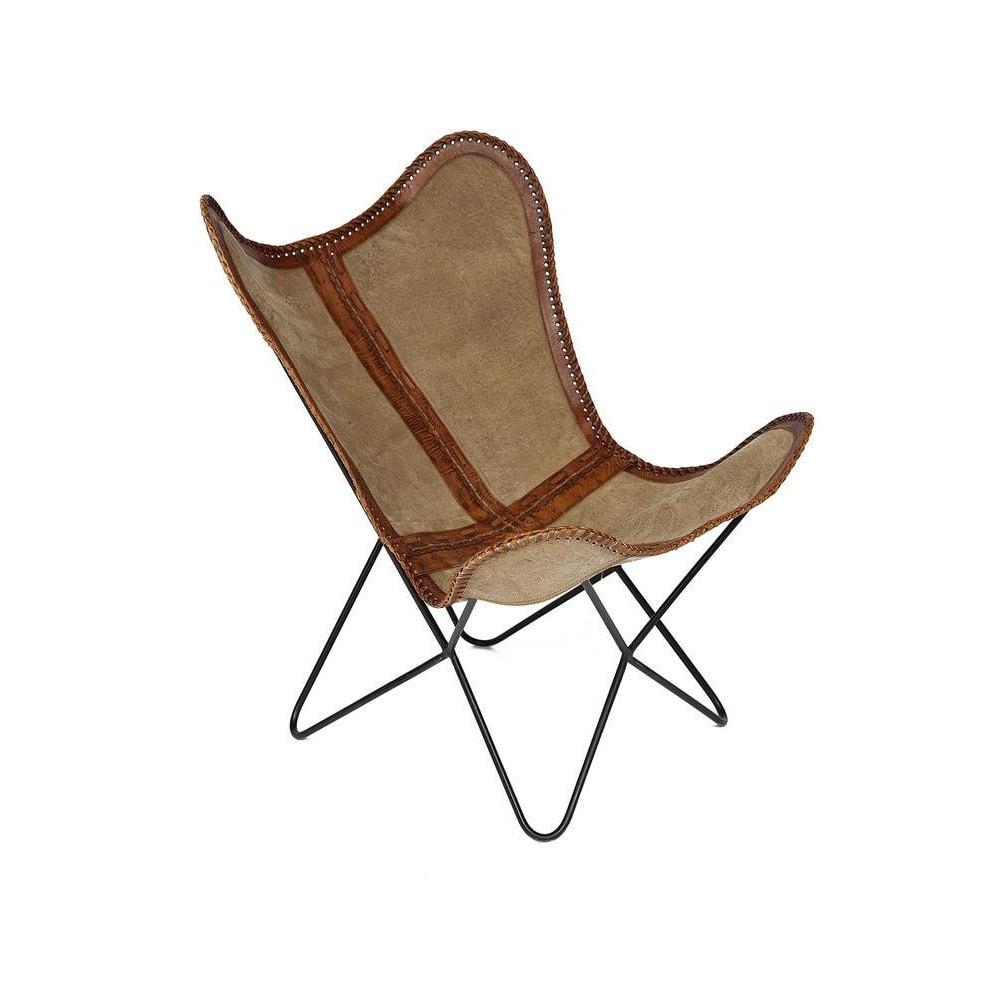 Кресло Secret De Maison NEWTON ( mod. M-4201 ) металл/кожа буйвола/ткань, коричневый, ткань: винтаж