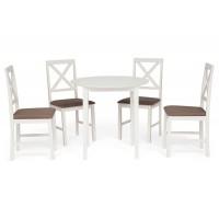 Обеденный комплект эконом Ватсон (стол + 4 стула)/ Watson Dining Set дерево гевея/мдф, стол: 80х80х75см / стул: 44х42х89см, butter white, ткань кремовая (HE490-01)