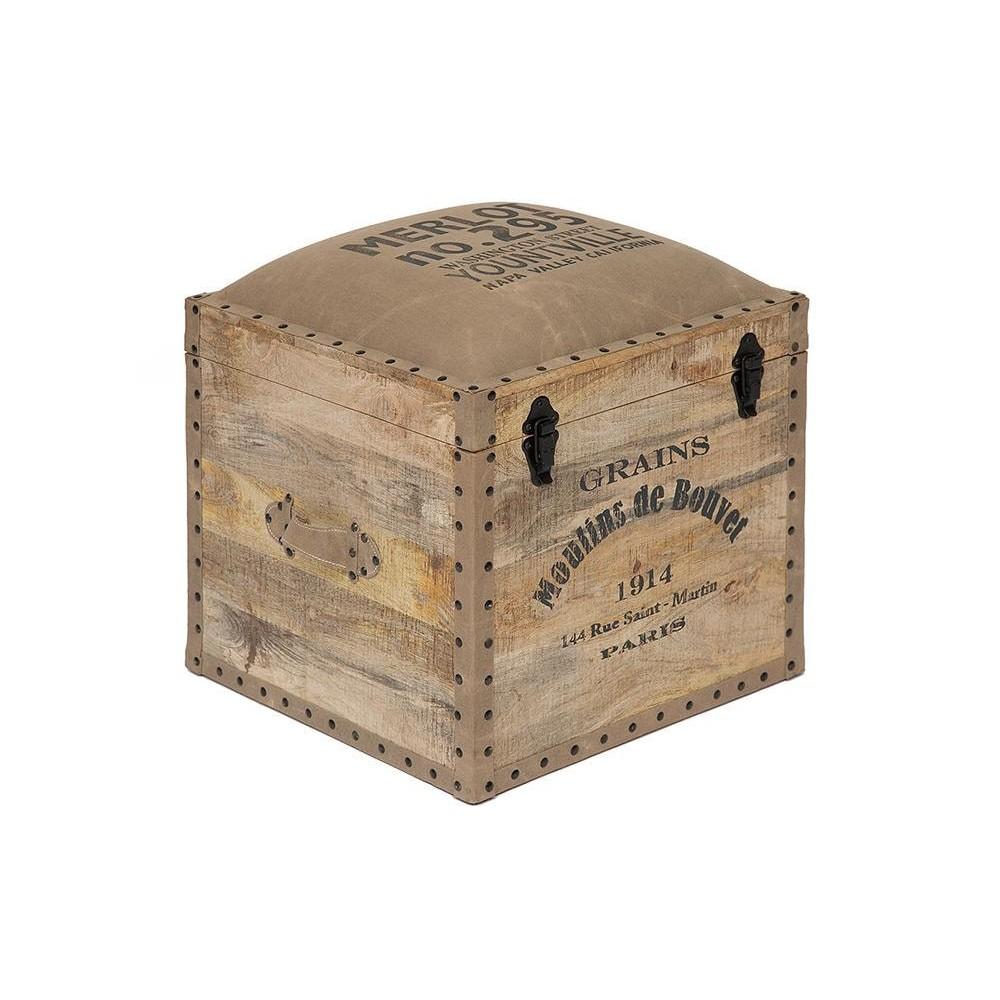 Пуф - сундук Secret De Maison PERRET (mod. M-540 ) дерево манго/ткань хлопок, натуральный, ткань: винтаж