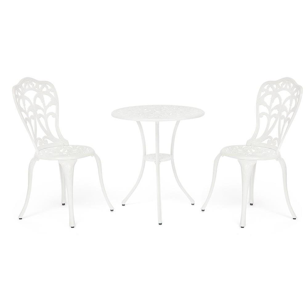 Комплект Secret De Maison Serenade (стол +2 стула) алюминиевый сплав, D60/H67, 51х51х87см, белый/(white