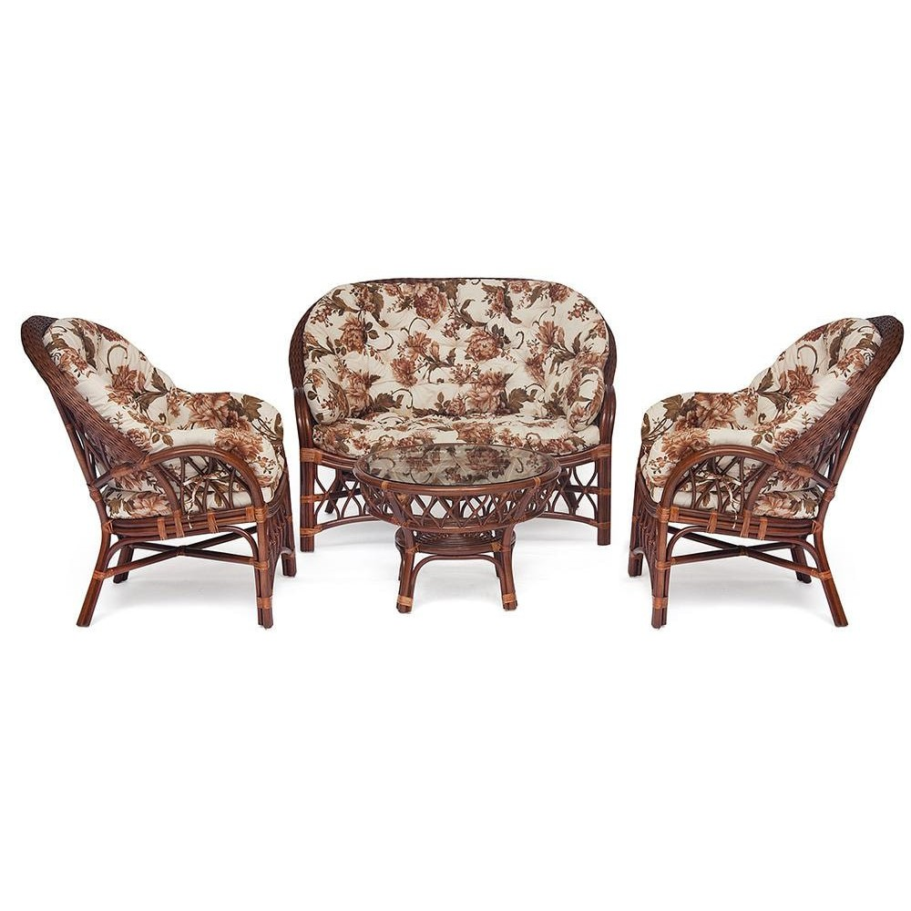 КОМПЛЕКТ для отдыха NEO CHURCHILL ( стол + диван + 2 кресла ) Pecan