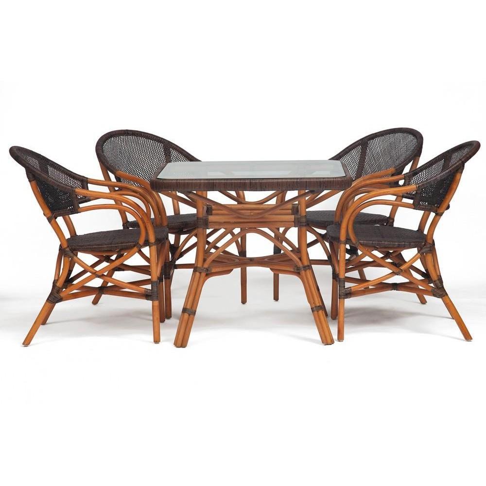 Комплект ( стол + 4 стула ) Secret De Maison Yama - Jiali натуральный ротанг, стол:90х90х76см, стул: 84x53x56см/57х68х90см, коричневый/brown
