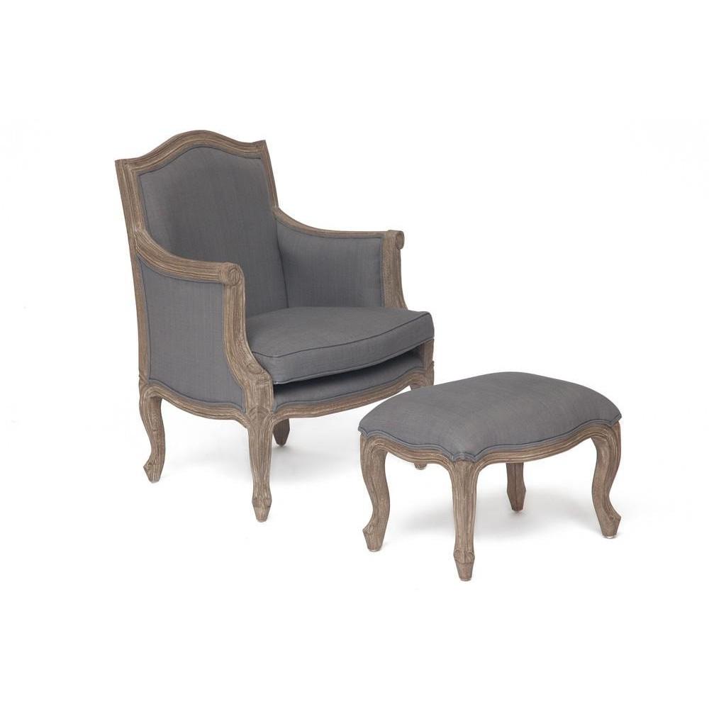 Кресло Secret De Maison Marie (mod. ASS790) красное дерево/ткань,  цвет дерева: dark walnut, цвет ткани: серый