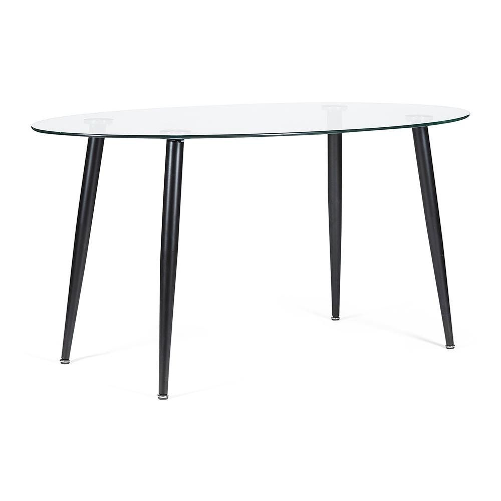 Стол KASSEL (mod. DT333) металл, закаленное стекло (10 мм),  черный