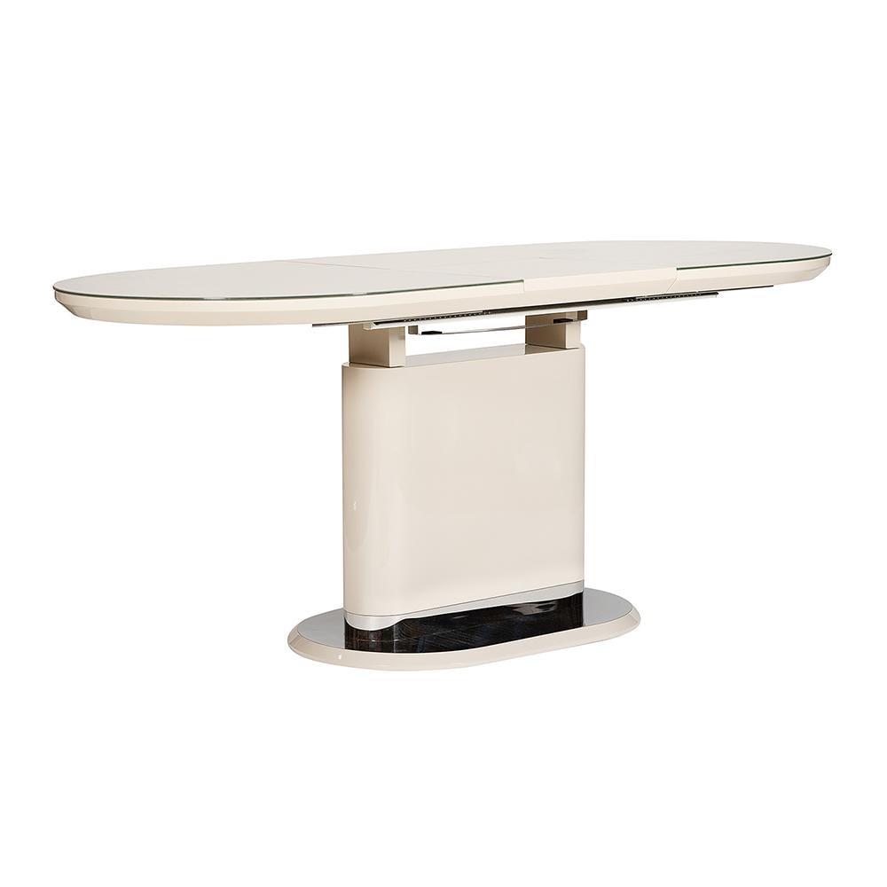 Стол ERFURT ( mod. DT0705 ) мдф high gloss, закаленное стекло,  слоновая кость/хром