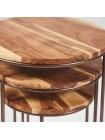 Столик журнальный IRONMAN (комплект из 3 шт) - 7610 металл/дерево палисандр, натуральный черный