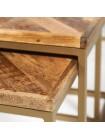 Столик журнальный DOLLO (комплект из 3 шт) - 7702 металл/дерево акация,  античная медь/натуральный