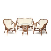 Комплект для отдыха SONOMA ( стол круглый (со стеклом)+2 кресла+диван ) ротанг, кр:63х69х79см, дв:112х69х79см, ст:D50х56,5см, coco brown (коричневый кокос)