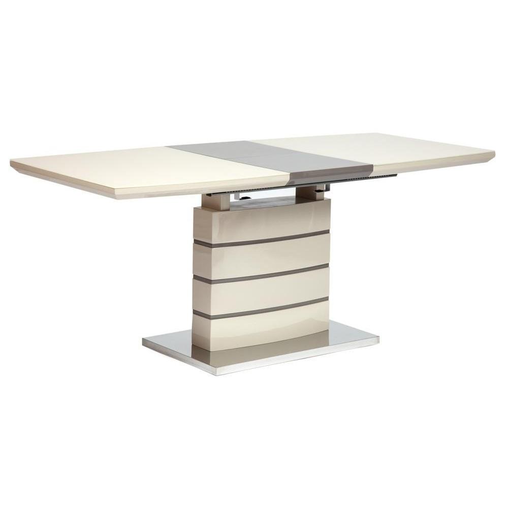 Стол WOLF ( mod. 8053-2 ) мдф high gloss, закаленное стекло, слоновая кость/латте