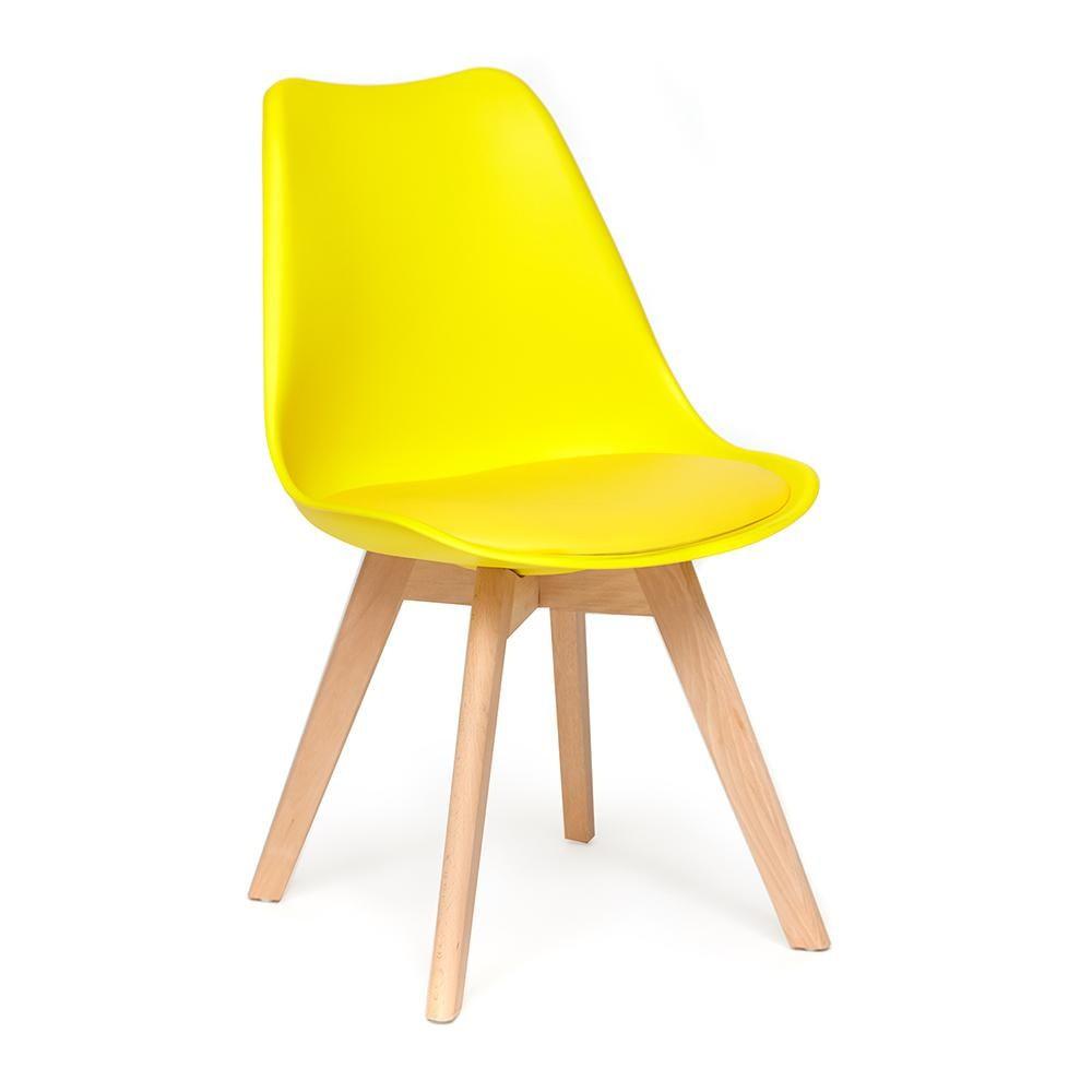 Стул Secret De Maison TULIP (mod. 73) дерево/пластик/ПУ, желтый