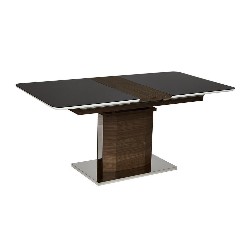 Стол RADCLIFFE( Mod. EDT-VG002) мдф high glossy, закаленное стекло, коричневый, стекло черное