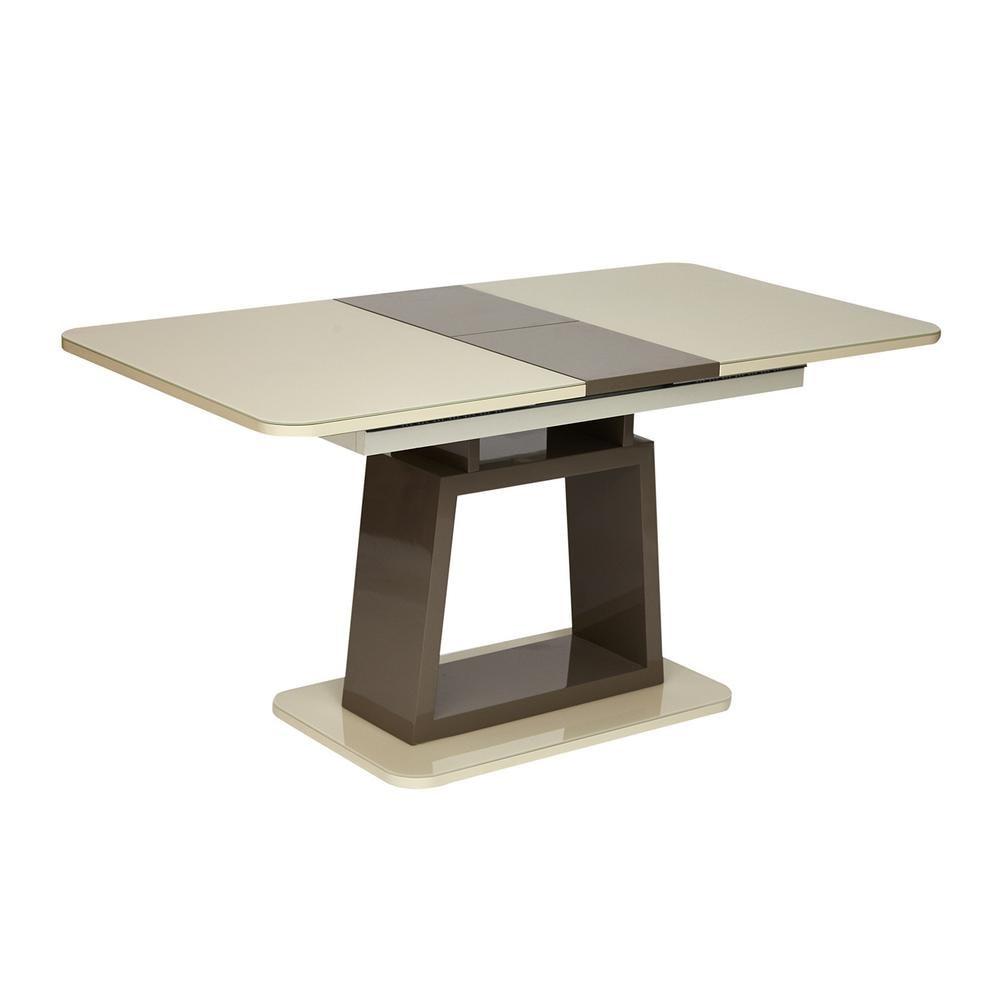 Стол BRUGGE (mod.EDT-VE001) мдф high glossy, закаленное стекло,  слоновая кость/латте