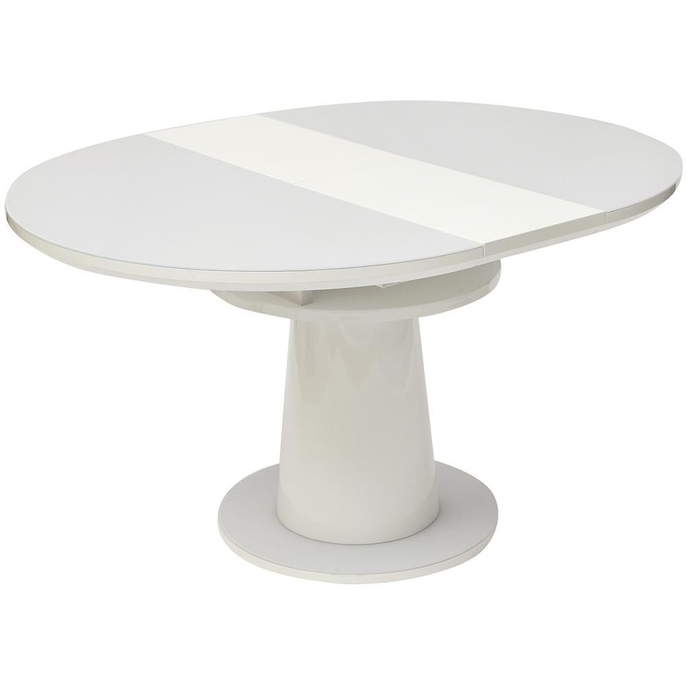 Стол SOLARA (mod. 01) мдф high glossy, закаленное стекло, белый