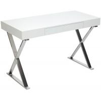 Стол письменный LAZETTI (mod.EWD-HS01) мдф high gloss/металл, Белый (White)/хром