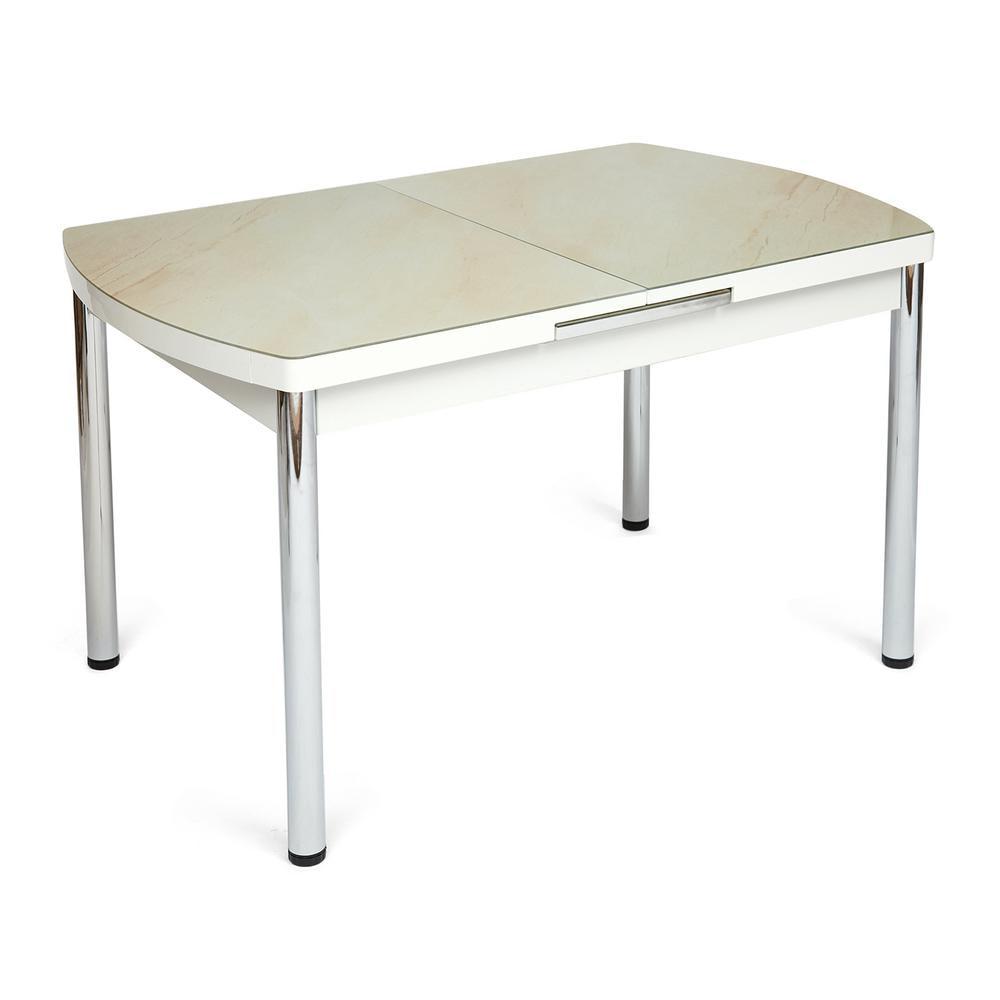 Стол MARMARIS (Mod.18) металл,мдф, стекло,  кремовый мрамор