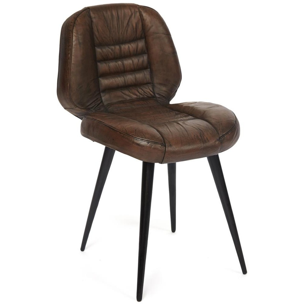 Стул Secret De Maison ZIPPO ( mod. M-19485) металл/кожа буйвола, коричневый