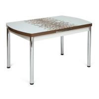 Стол MARMARIS (Mod.18) металл,мдф, стекло, бело-коричневый узор