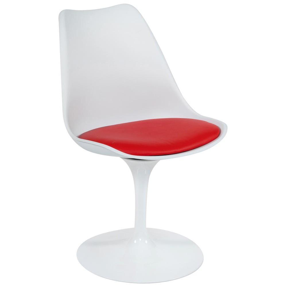 Стул TULIP FASHION CHAIR (mod.109) металл/пластик/PU, белый/красный