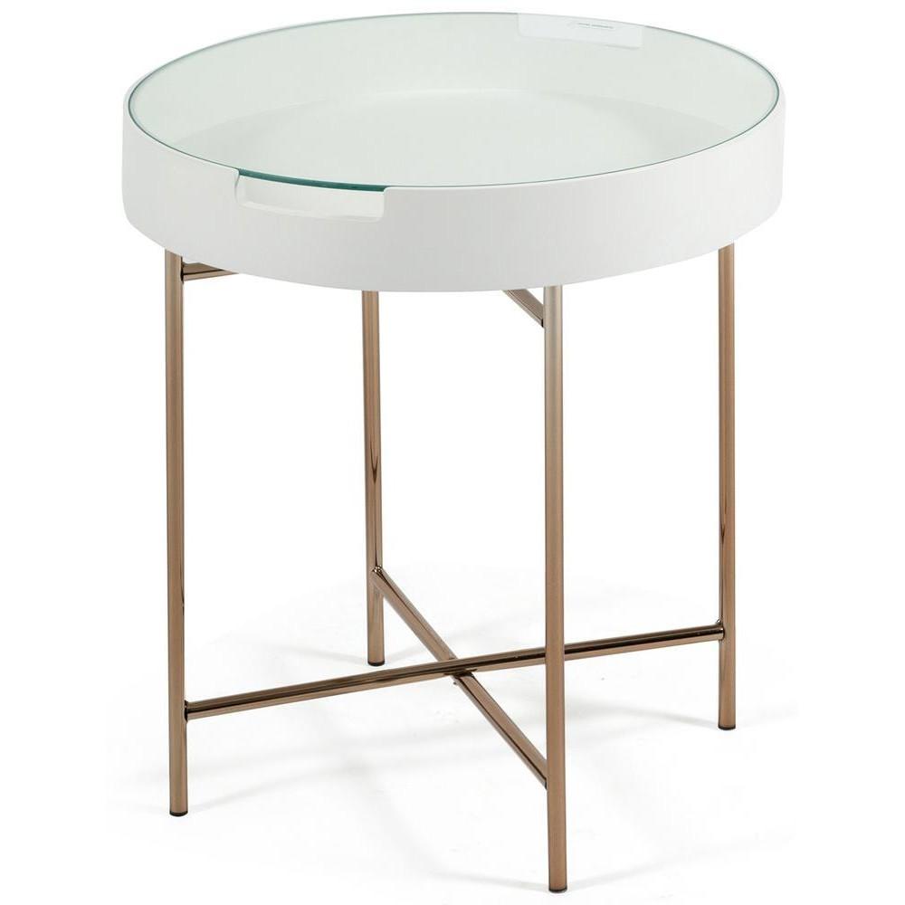 Столик NY-10501GL металл/дерево/стекло, белый, ножки золотые