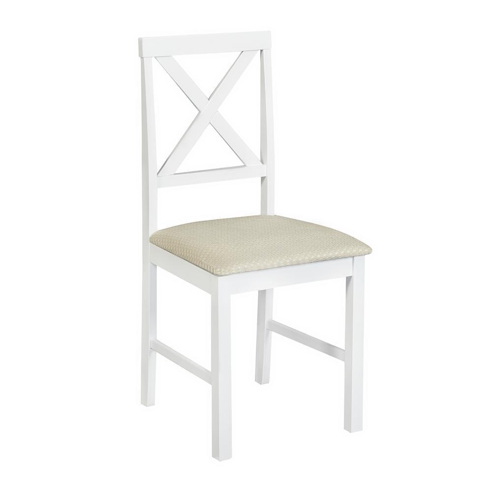 Обеденный комплект эконом Хадсон (стол + 4 стула)/ Hudson Dining Set дерево гевея/мдф,  pure white (белый 2-1), ткань HE490-01