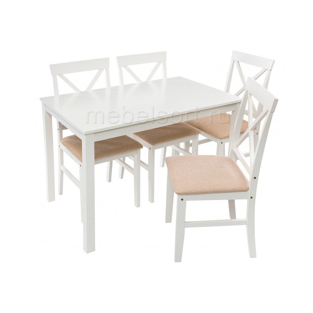 Обеденная группа Чили (Chili) (стол и 4 стула) buttermilk / beige