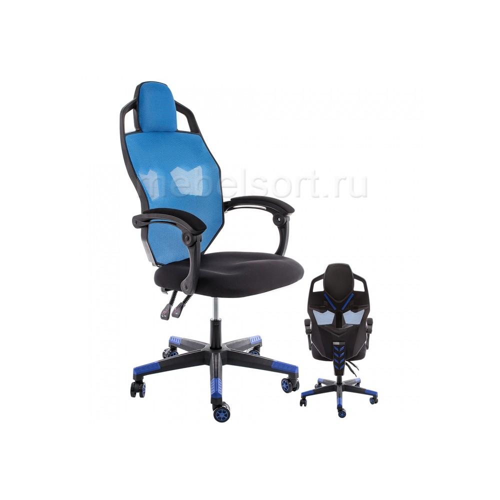 Компьютерное кресло Рыцарь (Knight) черное / голубое