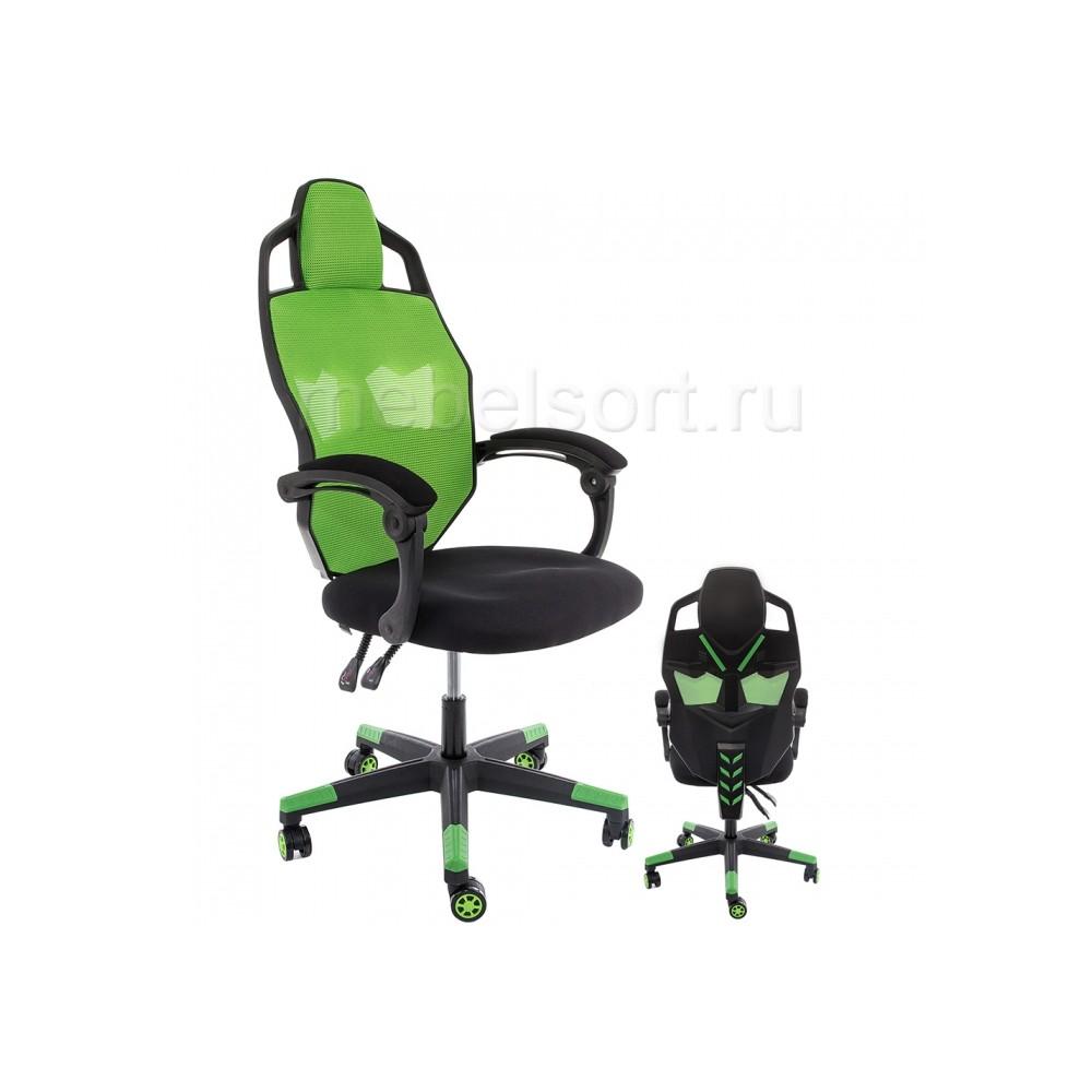 Компьютерное кресло Рыцарь (Knight) черное / зеленое